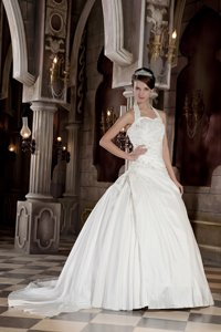Modest Ball Gown Halter Court Train Taffeta Appliques With Beading Wedding Dress