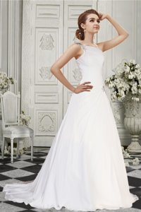 Simple A Line One Shoulder Court Train Wedding Dress with Beading