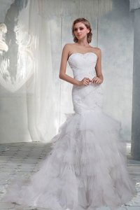 Beautiful Mermaid Sweetheart Court Train Wedding Dress With Beading
