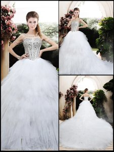 Beautiful Ball Gown Chapel Train Wedding Dress With Beading And Ruffles