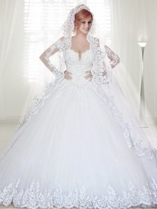 Cheap Long Sleeves Applique and Beaded Wedding Dress with Chapel Train