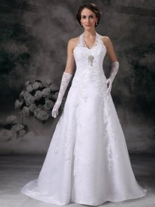Discount Halter Court Train Lace Beading Wedding Dress