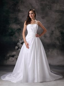 Modest Strapless Court Train Taffeta Beading Wedding Dress