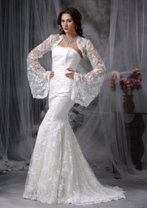 Modest Mermaid Strapless Court Train Lace Wedding Dress