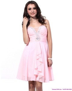 Fashional Baby Pink Prom Dress With Beading And Ruching