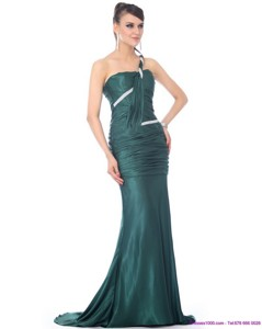 New Style One Shoulde Prom Dress With Ruching And Brush Train