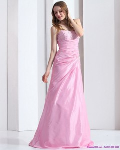 Exclusive Baby Pink Sweetheart Prom Dress With Beading And Ruching