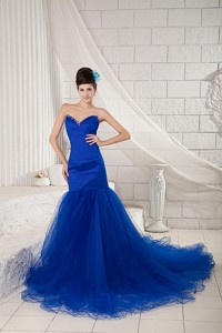 Special Royal Blue Mermaid Sweetheart Prom Dress Tulle and Satin Beading Chapel Train
