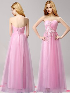 Perfect Beaded and Applique Tulle Prom Dress in Rose Pink