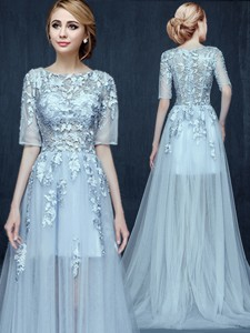 Unique Scoop Half Sleeves Applique Prom Dress with Brush Train