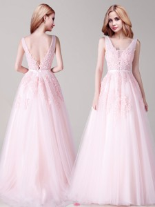 Beautiful V Neck Applique and Belted Prom Dress in Baby Pink
