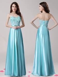 Best Aqua Blue Satin Prom Dress with Beading and Bowknot