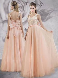 Pretty Applique Decorated Bodice A Line Long Prom Dress in Baby Pink