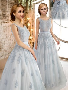 Luxurious See Through Scoop Applique Prom Dress in Light Blue