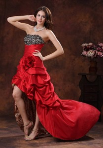 Red Leopard High-low Prom Dress Clearances With Beaded and Flowers Decorate Bust In Albertville Alab