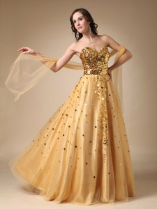 Gold Sweetheart Sequins And Tulle Evening Dress