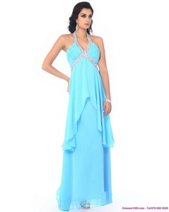 Perfect Halter Top Long Dama Dress With Beading And Ruffles