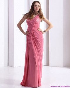 One Shoulder Rose Pink Prom Dress With Appliques And Ruching