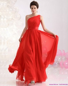 New Style Ruching Red One Shoulder Prom Dress