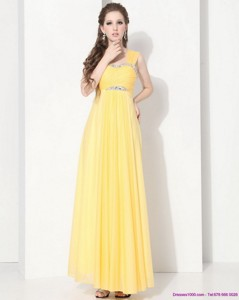 Floor Length Prom Dress With Ruching And Beading