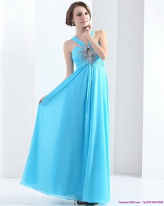 Gorgeous Halter Top Floor Length Prom Dress With Ruching And Beading