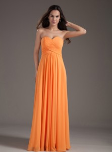 Orange Sweetheart Ruching Empire Long Prom Dress