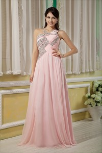 Baby Pink Prom Dress For Custom Made Empire Asymmertrical Chiffon Beading Floor-length