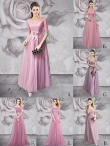Classical Empire Ruched Long Prom Dress in Tulle for Spring
