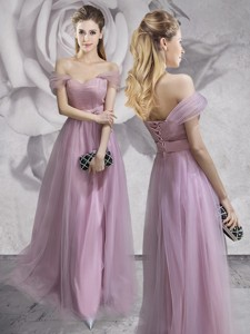 Exclusive Off the Shoulder Lavender Prom Dress with Belt and Ruching