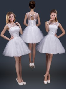 Pretty Short Scoop Appliques Prom Dress In White