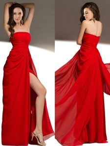 Sexy Strapless High Slit Chiffon Prom Dress in Red