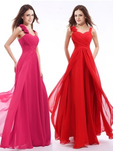 New Arrivals Straps Floor Length Prom Dress with Hand Made Flowers