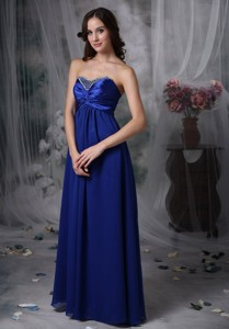 Luxurious Royal Blue Mother of the Bride Dress Empire Sweetheart Beading Chiffon and Elastic Woven S