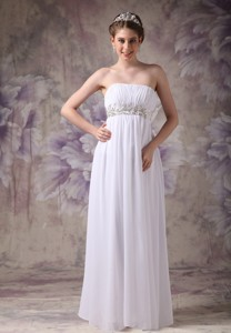 Customize Wedding Dress Empire Strapless Chiffon Appliques Floor-length