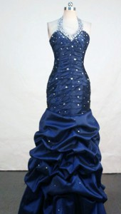Fashionable Mermaid Halter Top Floor-length Taffeta Navy Blue Prom Dress Appliques With Beading