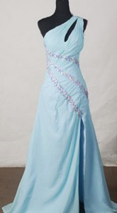 Beautiful One-shoulder Neck Floor-length Beading Prom Dress