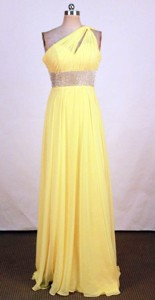 Popular Empire One-shoulder Neck Floor-length Yellow Beading Prom Dress