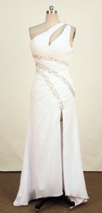 Discount One-shoulder Neck Floor-length Beading Prom Dress