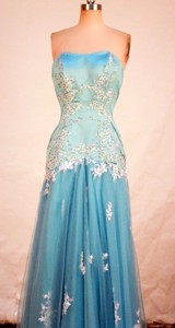 Affordable Column Strapless Floor-length Blue Appliques Prom Dress