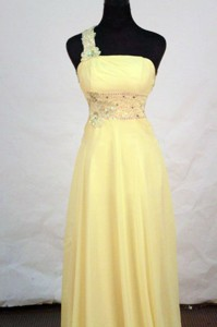 Beautiful Empire One-shoulder Neck Floor-length Chiffon Yellow Appliques With Beading Prom Dress