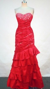Fashionable Column Sweetheart-neck Floor-length Red Beading Prom Dress