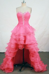 Brand New High-low Sweetheart-neck Floor-length Organza Red Beading Prom Dress