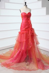 Sweetheart Red Court Train Organza Beading Prom Dress