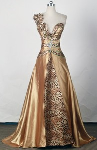 Sexy Empire One Shoulder Floor-length Gold Prom Dress