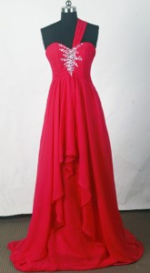Cheap Empire One Shoulder Floor-length Red Prom Dress