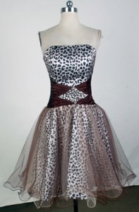 Sweet Strapless Mini-length Brown Prom Dress
