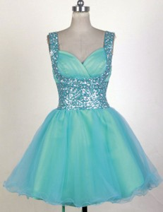 Perfect Short Straps Mini-length Aqua Prom Dress