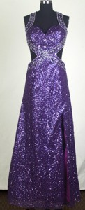 Sexy Empire Halter Floor-length Purple Prom Dress