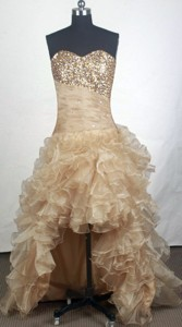 Gorgeous Sweetheart Knee-length Champange Prom Dress