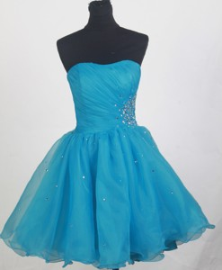 Affordable Short Strapless Knee-length Aqua Blue Prom Dress